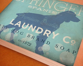 Springer Spaniel Laundry Company illustration graphic art on canvas panel by stephen fowler