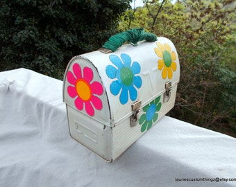1960s Custom Lunchbox Hand painted Back in the Day Flower Stickys Adorn It