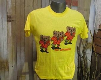 Vintage Teddy Bear t shirt furry 70s San Francisco T shirt Yellow Jogger shirt runner 70s velour tracksuit  tshirt  S M