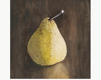 Solitary Pear still life watercolor illustration limited edition print