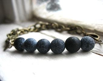 Agate Bracelet, Black Agate Brass Chain Bracelet, Handmade Artisan Gemstone Jewelry, Stone Bracelet, Black Agate