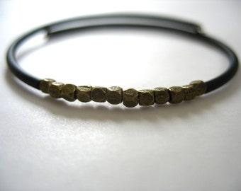 Cuff Bracelet, Antiqued Brass Beaded Bracelet, Handmade Jewelry