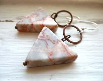 Triangle Marble Earrings, Marble Stone Copper Hoop Dangle Drop Earrings, Marble Jewelry, Handmade Artisan Jewelry, Dangle Drop Hoop Earrings