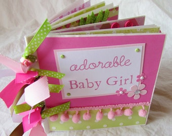 adorable BABY GIRL PaPeR BaG Premade Scrapbook Album -- pink, green and brown