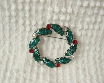 Vintage Rhinestone and Enamel Christmas Wreath Brooch