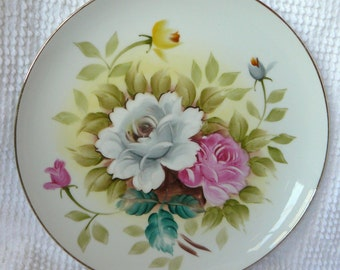 Vintage Handpainted Plate with Roses and Gold Trim - 10 inches round - Gorgeous