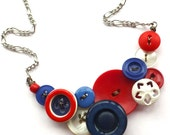 Red White and Blue Patriotic Vintage Button Statement Necklace