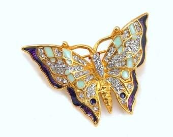 Butterfly Brooch, Clear Rhinestones & Enamel Wings, Goldtone Metal Setting, Vintage c1980s Costume Jewelry Insect Figural