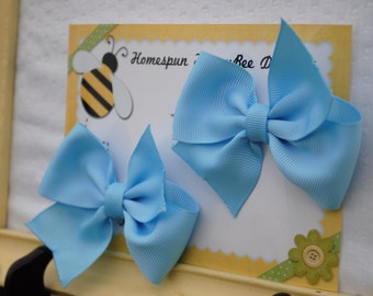 Pastel Blue Hairbows -Cinderella Blue Hair Bows - Set of Two Bow Clips - Pair of Cinderella Blue Bows - Piggy Tail Bows - Matching Pigtails