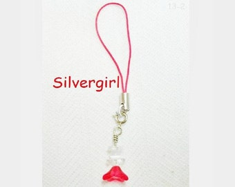 Cell Phone Charm Silver Plate Glass Angel Charm PDA MP3