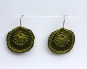 Crochet Earrings, Women's Jewelry,  Dual Color Ovals Gift for her, Mother's Day Gift, Jewelry, Earrings, Everday Jewelry in Olive and Lime