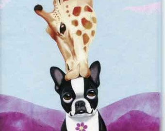 Boston Terrier giraffe Dog Art Magnet