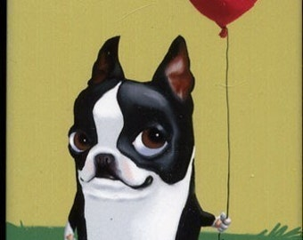 Boston Terrier Holding a Red Balloon Dog Art magnet