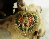 Vintage Glass Heart  - Gold - Green -Red  - Button Pendant