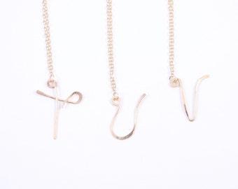 Initial Letter Necklace T, U, V