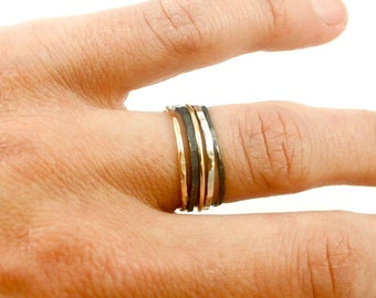 Set of 2 Textured Stacking Rings, Black with Silver or Gold