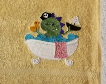 Bath Monster Embroidered Hand Towel
