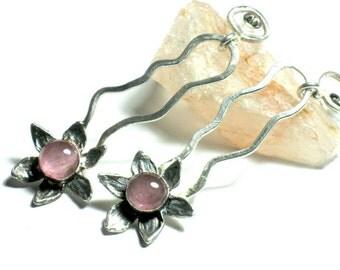 Silver Pink Earrings, Boho Chic Long Tourmaline Dangle Earrings, Pink Tourmaline