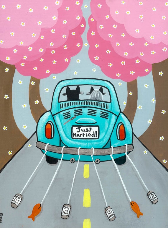 married volkswagen bug original cat folk art painting