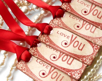 Love You Tags - Christmas, Wedding Favors - Vintage  Style Gift Tags - Set of 6