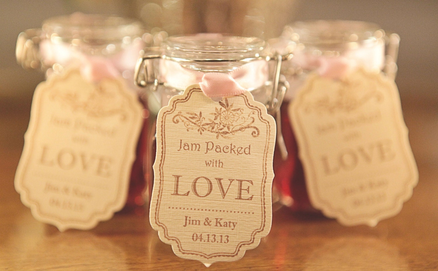 Wedding Favor Tags Pink Favors Cream