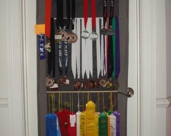Athletic/Sports Awards Organizer/Display- ribbons, medals