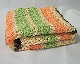 Crocheted Hand Towel, 70s Stripes in Green, Orange and Brown