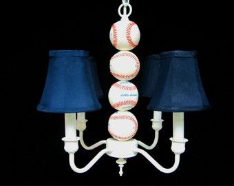 Sports Chandelier Lighting - Baseball Decor - Sports Decor - Boys Room Lighting