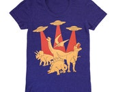 SALE Dinos vs Aliens Womens Scoop Neck T-Shirt Dinosaur UFO Sci Fi Awesome Spaceship Outer Space Monster Tshirt Tee Shirt Indigo Blue Tshirt
