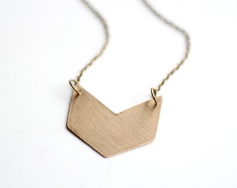 Minimalist Geometric Brass Chevron Necklace