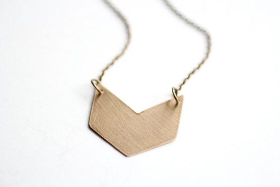 Minimalist Geometric Brass Chevron Necklace