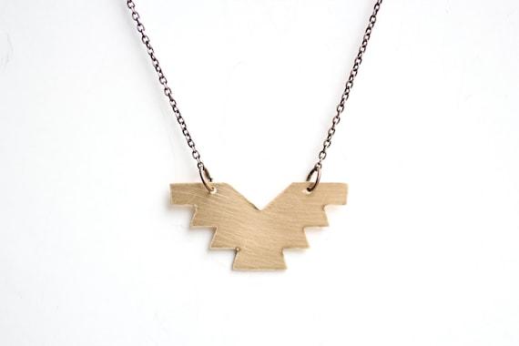 Minimalist Geometric Brass Phoenix Necklace