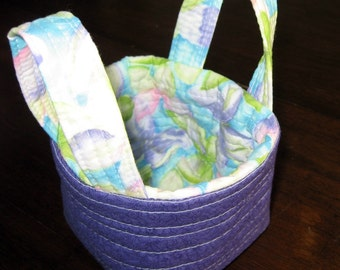 Quilted fabric bin, quilted fabric Easter basket