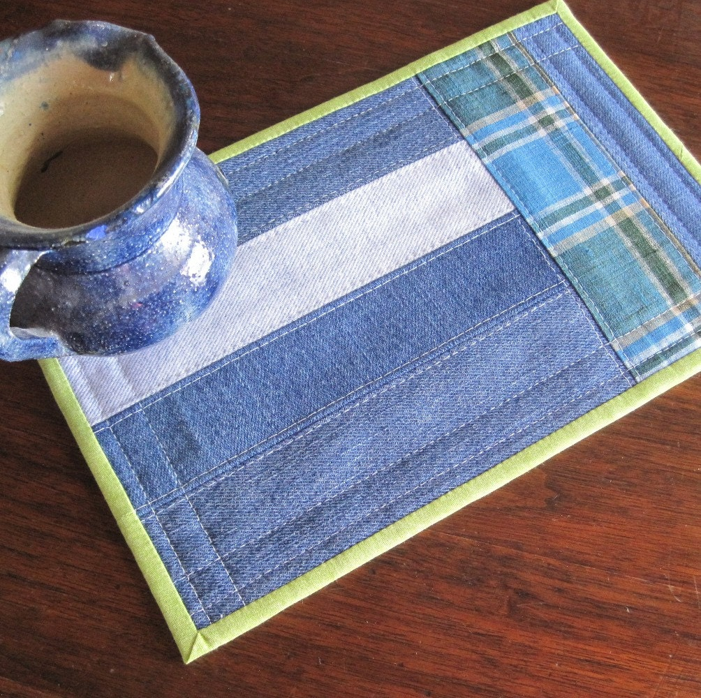 Mug Rug Upcycled Denim Strips With Blue And Green Plaid