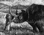 Print of Scratchboard Rhino with Child by Rebecca Salcedo EBSQ Artist A4C