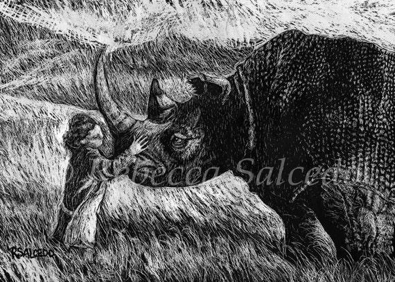 Print of Scratchboard Rhino with Child by Rebecca Salcedo EBSQ Artist A4C