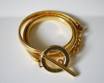 Vintage 70s 80s Gold Metal Snake Belt Coil Expansion Disco Ring Buckle M 28 Inch