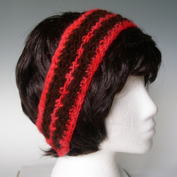 Alpaca Headband Knitting Pattern : ALPACA HEADBAND hair accessory Handspun hand crocheted.