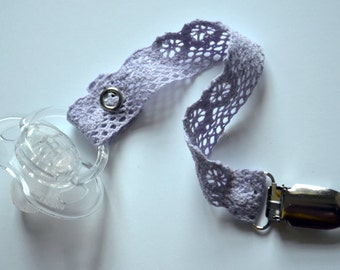 Girly and Dainty Pacifier Clip - Lavendar Crocheted