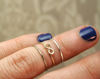 Dainty Infinity Knuckle Ring Set - 14k gold and sterling Above the Knuckle Rings - Midi