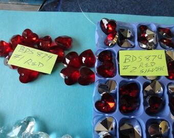 Choose you Color 14mm Crystal Hearts 6 pieces BDS 874