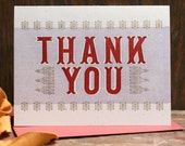 Indian Inspired Thank You letterpress card Set of 6