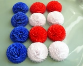 Button Mums 1 inch Tissue Paper Flowers  4th of July Patriotic Red White and Blue Decoration