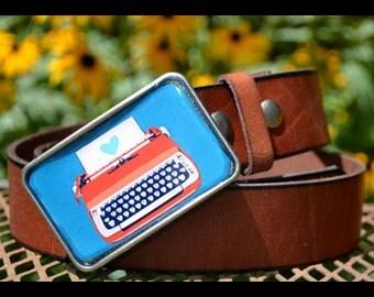 The Lois Belt - Leather Belt with Charming Vintage Orange Typewriter Buckle