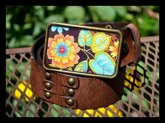 The Norma Belt - Leather Belt with Turquoise, Lime and Orange Flower Buckle