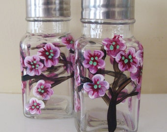 Cherry Blossom Salt and Pepper Shakers, glass,  Hand Painted