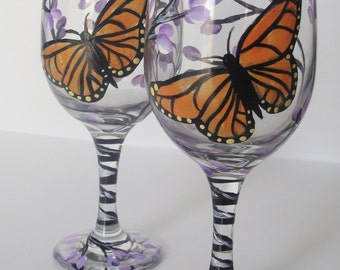 Monarch Butterfly and Lilacs Wine Glasses Set of Two Hand Painted