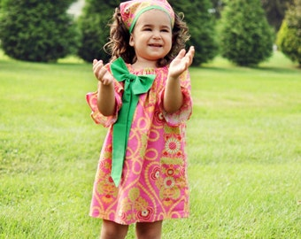 Bodacious Bow Peasant Dress Sewing Pattern short, three quarter and long Sleeve -- 0m - 12 girls PDF Instant