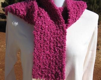 Hand Made Loom Knit Mohair Blend Earwarmer/Headband And Scarf Set - Rasberry Creme