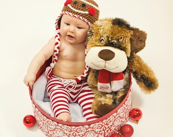 Gingerbread Hat Girl or Boy Crocheted Ear Flap Hat NB to 24 months size